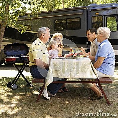 Familie bij picknicklijst.