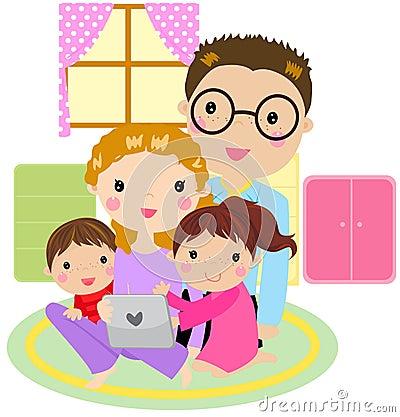 Familie die een tabletcomputer met behulp van