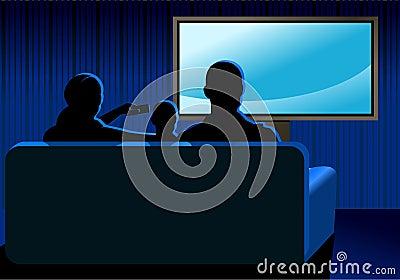 Familie, die Fernsieht