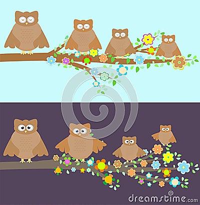 Familie die van uilen op een tak zit