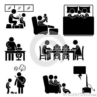 Familien-Aktivität am Haus-Ausgangspiktogramm