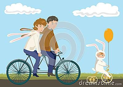Familien radfahren vater mutter und kind in den kaninchen kostümen