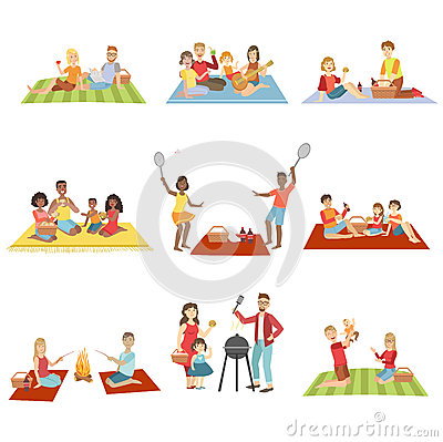 Families On Picnic Outdoors Vector Illustration
