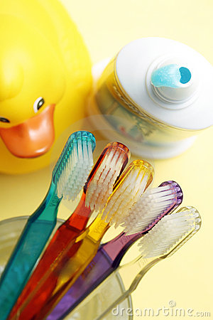 Free Families Toothbrushes, Toothpaste, Yellow Rubber Duck, Bathroom Stock Photography - 1942062
