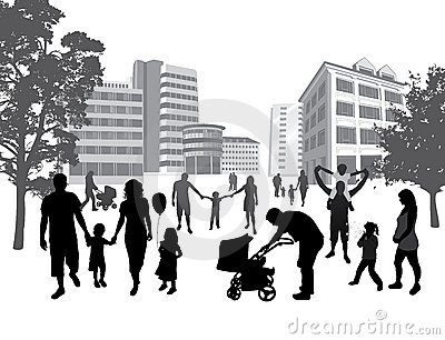 Families walking in the town. Lifestyle ,urban bac