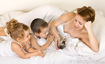 Familiy playing with a little kitten laying in bed