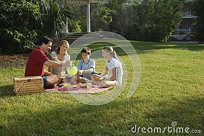 Familj som har parkpicknicken