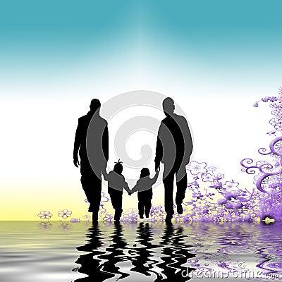 Familj som tillsammans strosar