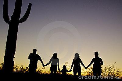 Familjsolnedgångtogetherness