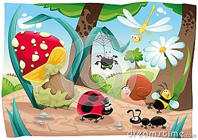 Famille d insectes au sol.