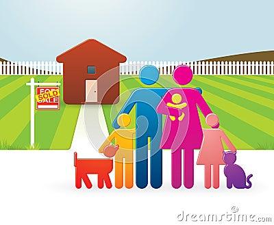 famille devant leur maison neuve image libre de droits image 13882876. Black Bedroom Furniture Sets. Home Design Ideas