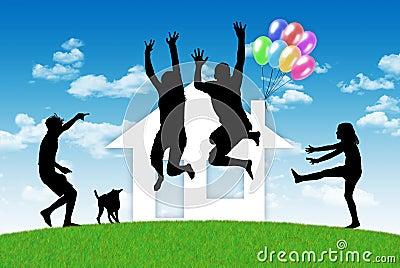 famille heureuse ayant une maison photos libres de droits image 31047698. Black Bedroom Furniture Sets. Home Design Ideas