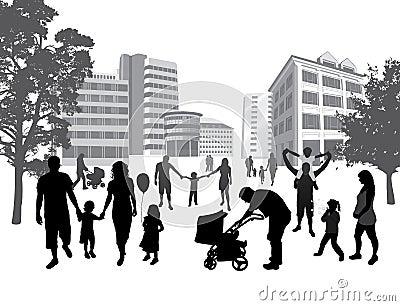 Familles marchant dans la ville. Style de vie, CCB urbain