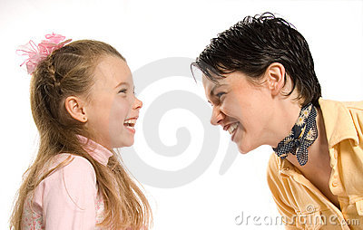 Happy mom and daughter on white background.