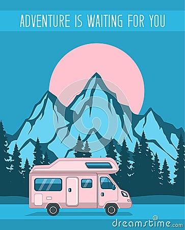 Free Family Adventure Road Trip Poster Stock Photo - 78863750