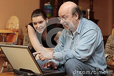 Family album on granddad s laptop