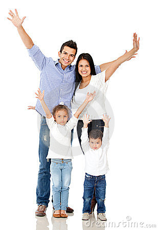 Family with arms up