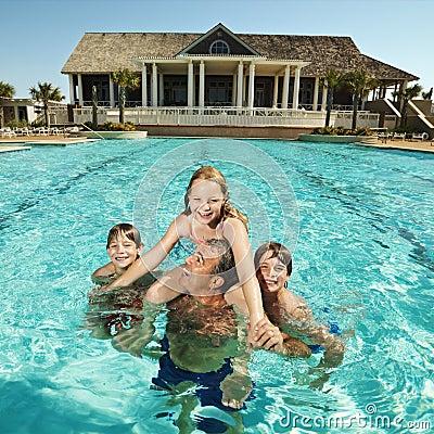 Free Family At Pool. Royalty Free Stock Photos - 2851488