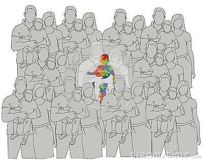 Family with an autistic child compared to other families. World Autism Day. vector illustration. Vector Illustration