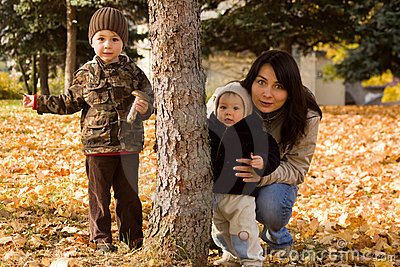 Family in autumn countryside