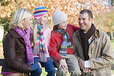 Family on autumn walk