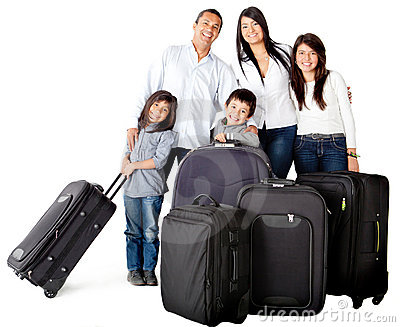 Family with bags