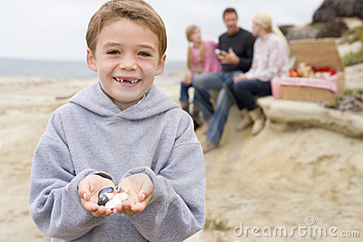 Family at beach with picnic and boy smiling