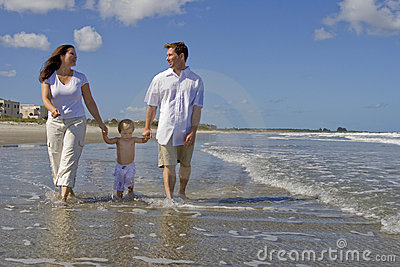 Family beach walk