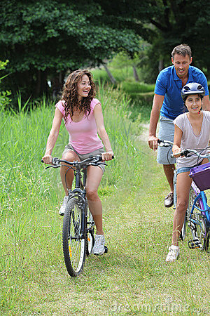 Family on a bicycle ride