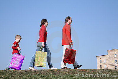 Family with big bags