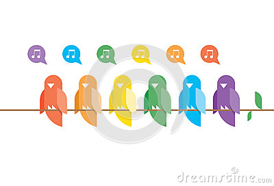 Family of birds in rainbow colors sitting and sing