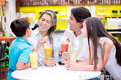 Family at a cafeteria