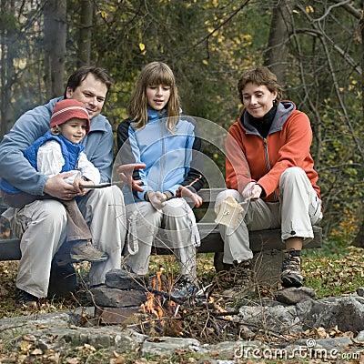 Family in camp