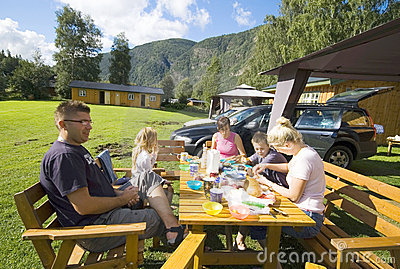 Family camp meal Stock Photo
