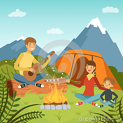 Free Family Camping In The Wood Near Big Mountains. Nature Vector Background Illustrations Royalty Free Stock Photography - 98836537