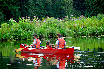 Family canoe river
