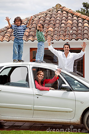 Family with a car
