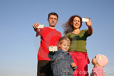 Family with cards for text
