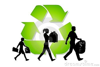 Family Carrying Trash Recycling