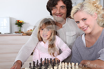 Family by chess board