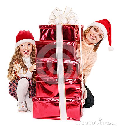 Family with child giving stack red  gift box.