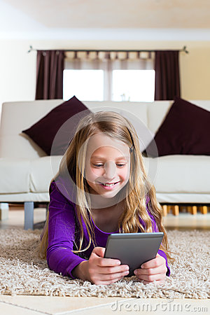 Family - child reading an E-Book
