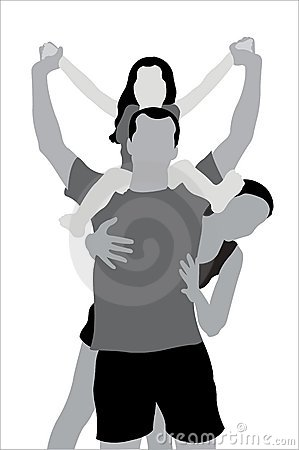 Family with child on shoulders