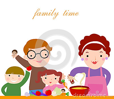 Family with children cooking