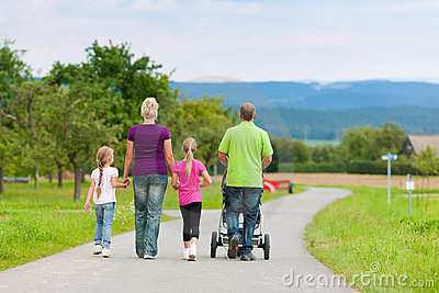 Family with children having walk