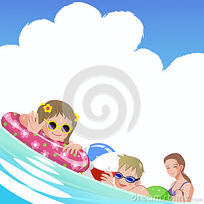 Family with children at sea on summer holiday