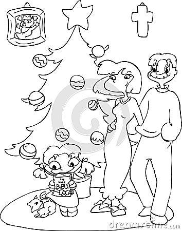 Family at Christmas coloring