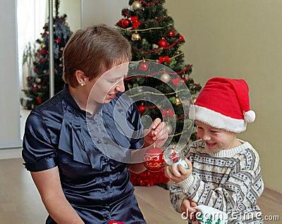 Family before christmas tree
