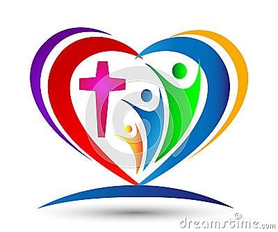 Family Church Love Union Heart shaped logo Stock Photo