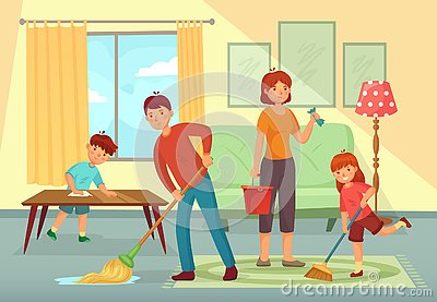 Family cleaning house. Father, mother and kids cleaning living room together housework cartoon vector illustration Vector Illustration